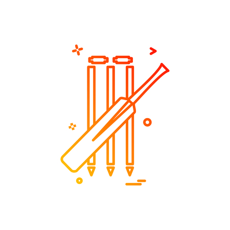 bat cricket wickets icon vector design