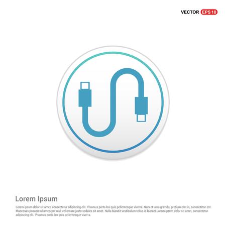 USB Cable Icon - white circle button