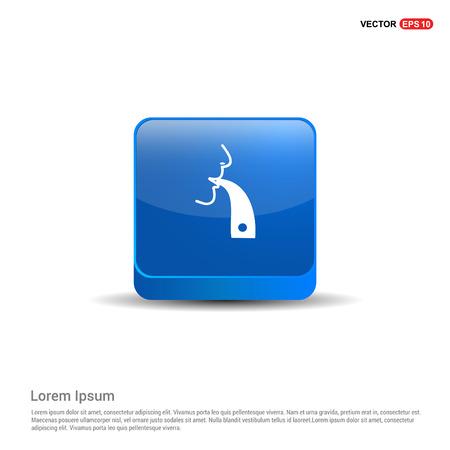 inhaler icon - 3d Blue Button. Illustration