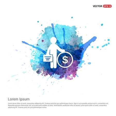 Business Man and Dollar Icon - Watercolor Background