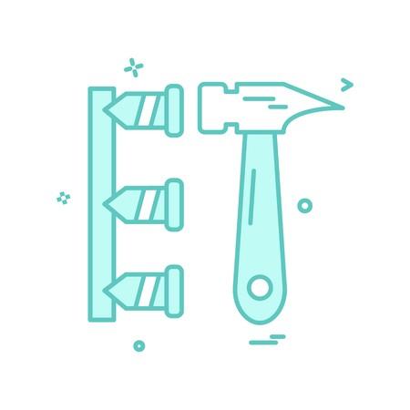 hammer labor nails icon design vector