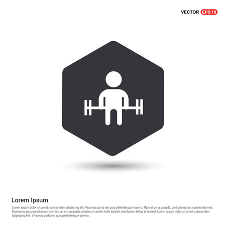 Man with dumbbell Icon Hexa White Background icon template - Free vector icon