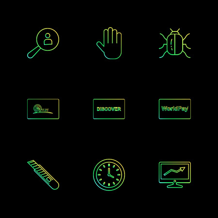 Search , hand , bug,  eway , discover, world play , graph , clock , cutter , icon, vector, design,  flat,  collection, style, creative,  icons