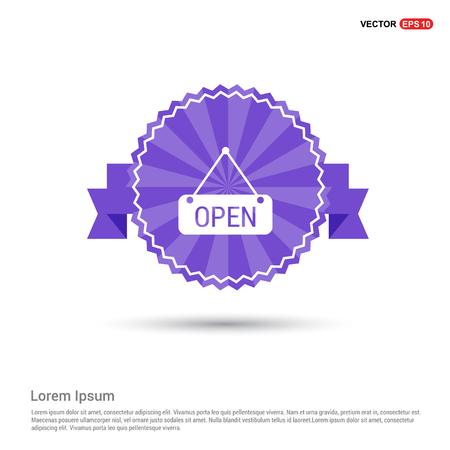Open Icon - Purple Ribbon banner
