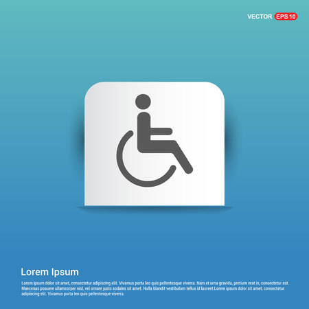 Disabled person icon - Blue Sticker button