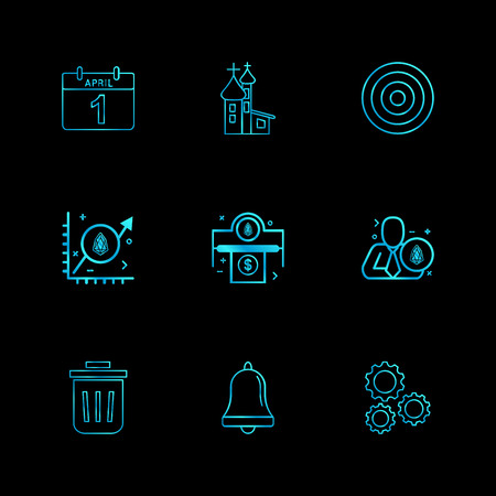 April , calender , dart , target , gear , setting, bell, dust bin, trash , graph , corporate , money,icon, vector, design,  flat,  collection, style, creative,  icons Illustration