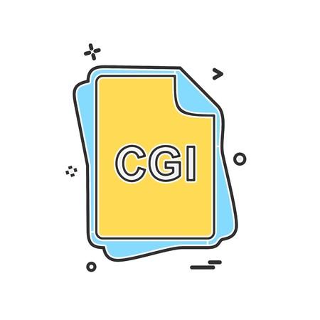 CGI file type icon design vector Illustration
