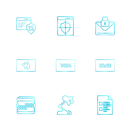 credit card , sheild , envelope , message , locked, skrill , document , visa microscope , calender , icon, vector, design, flat, collection, style, creative, icons Vecteurs