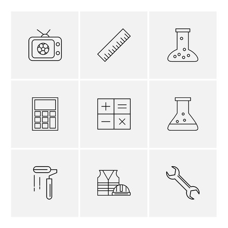 Tv , scale , beaker ,calculator , maths , chemical flask , paint roller , uniform , wrench , icon, vector, design,  flat,  collection, style, creative,  icons
