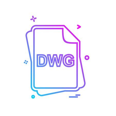 DWG file type icon design vector