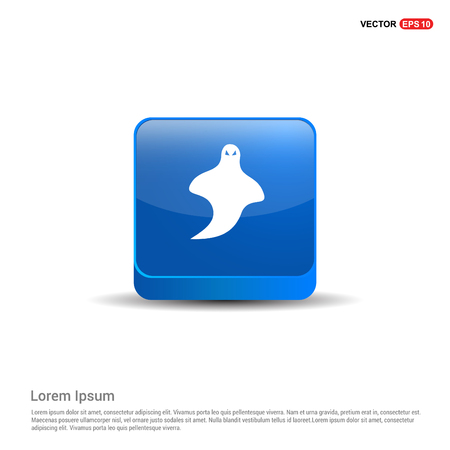 Ghost icon - 3d Blue Button. 일러스트