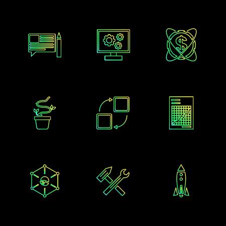 dollar , ecg , recherche , bugs , technologie , communication , argent , oeil , référencement , parapluie , verrouillé , partager , ordinateur , réseau , mise en réseau , badge , dossier , icône, vecteur, design, plat, collection, style, créatif, icônes Vecteurs