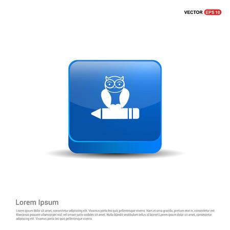 Owl Icon - 3d Blue Button.