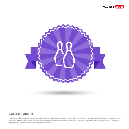 Bowling Pin Icon - Purple Ribbon banner Stock Illustratie