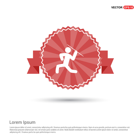 Javelin Throw Icon - Red Ribbon banner Foto de archivo - 113724394