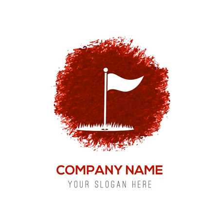 Golf Flag Icon - Red WaterColor Circle Splash