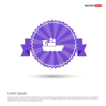 Sea ship Icon - Purple Ribbon banner