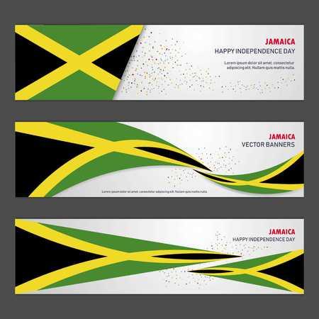 Jamaica independence day abstract background design banner and flyer, postcard, landscape, celebration vector illustration Vetores