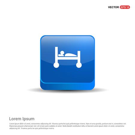 patient, icon - 3d Blue Button. Stock Vector - 118339967