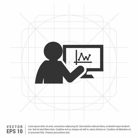 Business presentation icon Çizim