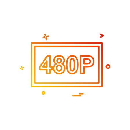 480p video icon design vector