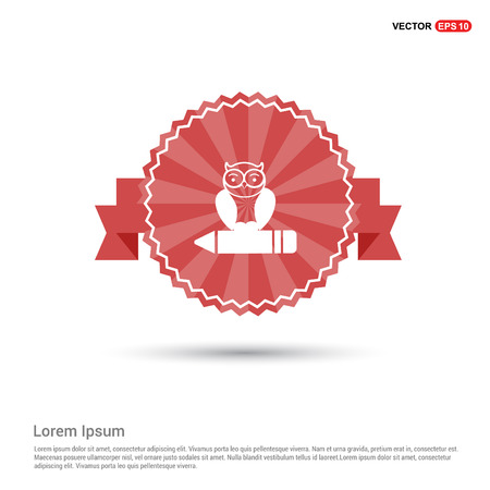 Owl Icon - Red Ribbon banner