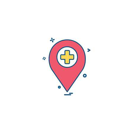location travel marker hospital icon vector desige