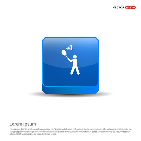 Bedminton Player Icon - 3d Blue Button. Illustration