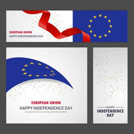 Happy European Union independence day Banner and Background Set