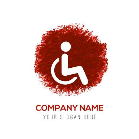 Disabled person icon - Red WaterColor Circle Splash