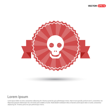 Halloween skull icon - Red Ribbon banner 向量圖像