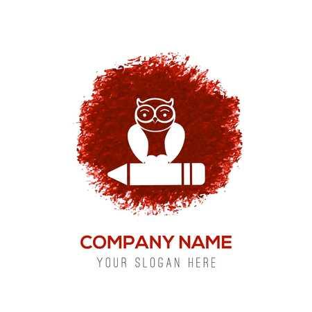 Owl Icon - Red WaterColor Circle Splash