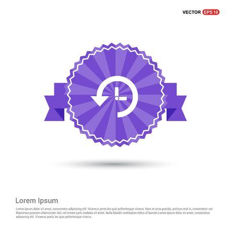 Cuckoo clock icon - Purple Ribbon banner Stockfoto - 148008518