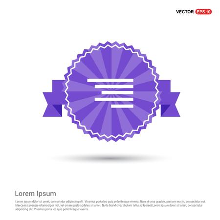 Document align icon - Purple Ribbon banner