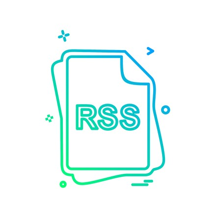 RSS file type icon design vector 向量圖像