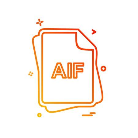 AIF file type icon design vector