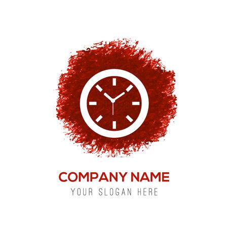 Clock Icon - Red WaterColor Circle Splash