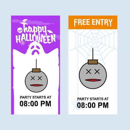 Happy Halloween invitation design with ball vector
