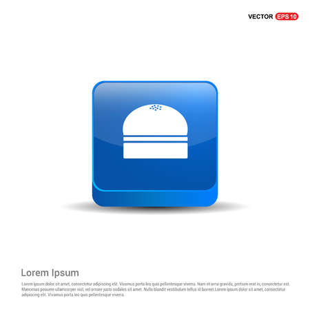 Burger Icon - 3d Blue Button.