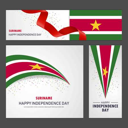 Happy Suriname independence day Banner and Background Set