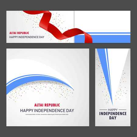 Happy Altai Republic independence day Banner and Background Set