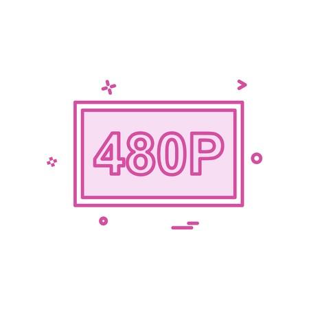 480p video icon design vector