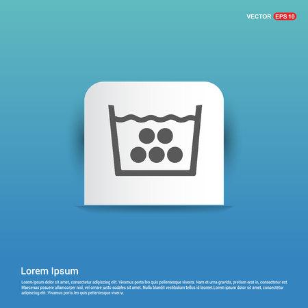 Laundry symbols icon - Blue Sticker button