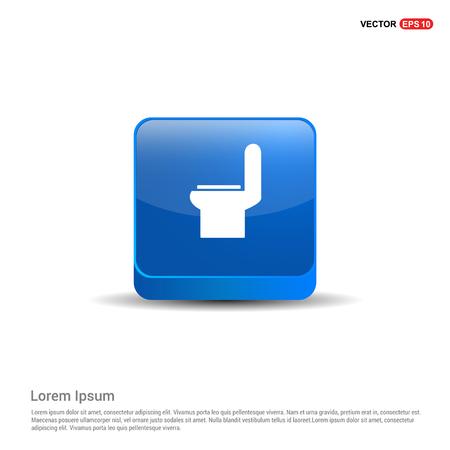 commode toilet icon - 3d Blue Button. Illustration