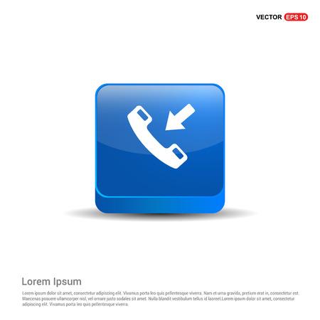Phone receiver icon. - 3d Blue Button.