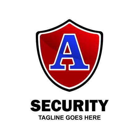 Alphabetical security logo design with creative typography vector