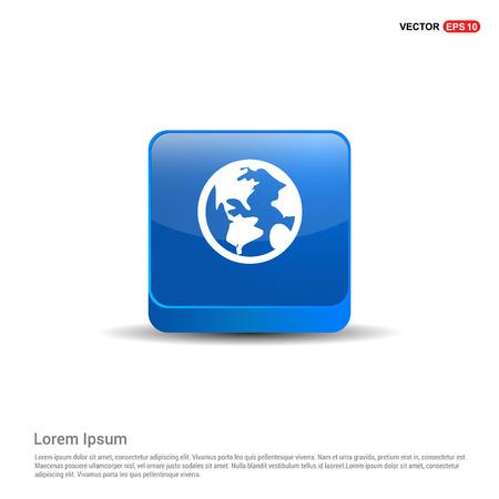 Globe Icon - 3d Blue Button. Illustration