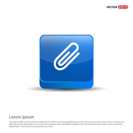 paper clip icon - 3d Blue Button. Stock Vector - 118347483