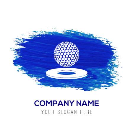 Golf-Design-Ikone - Blauer Aquarellhintergrund