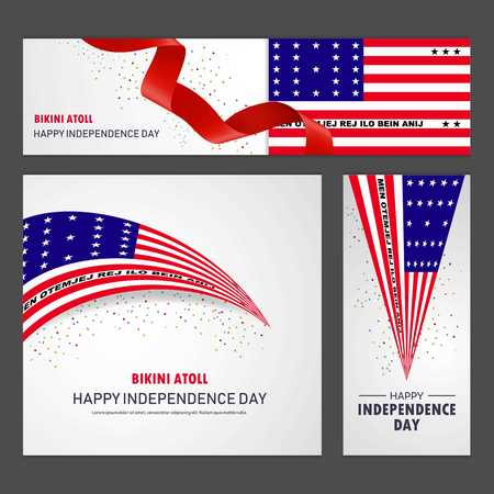 Happy Bikini Atoll independence day Banner and Background Set  イラスト・ベクター素材